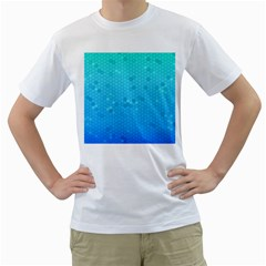 Blue Seamless Black Hexagon Pattern Men s T Shirt (white)