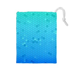 Blue Seamless Black Hexagon Pattern Drawstring Pouches (large)