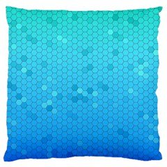 Blue Seamless Black Hexagon Pattern Large Flano Cushion Case (two Sides)