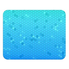 Blue Seamless Black Hexagon Pattern Double Sided Flano Blanket (large)