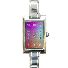 Blue And Pink Colors On A Pattern Rectangle Italian Charm Watch