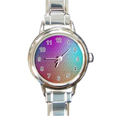 Blue And Pink Colors On A Pattern Round Italian Charm Watch