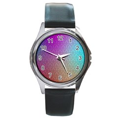 Blue And Pink Colors On A Pattern Round Metal Watch
