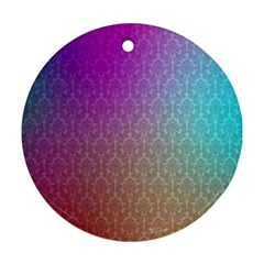 Blue And Pink Colors On A Pattern Ornament (round)