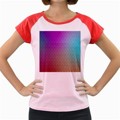 Blue And Pink Colors On A Pattern Women s Cap Sleeve T-Shirt