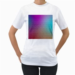 Blue And Pink Colors On A Pattern Women s T Shirt (white) (two Sided)