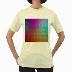 Blue And Pink Colors On A Pattern Women s Yellow T Shirt