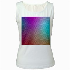 Blue And Pink Colors On A Pattern Women s White Tank Top