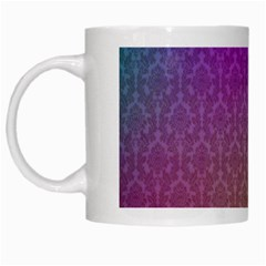 Blue And Pink Colors On A Pattern White Mugs