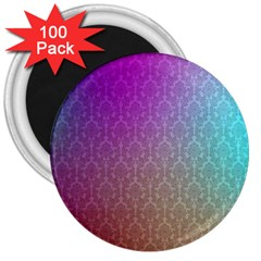Blue And Pink Colors On A Pattern 3  Magnets (100 Pack)