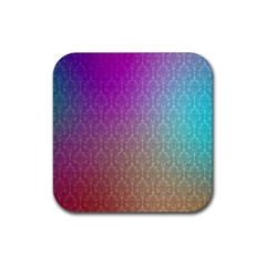 Blue And Pink Colors On A Pattern Rubber Square Coaster (4 Pack)