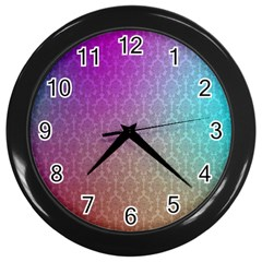Blue And Pink Colors On A Pattern Wall Clocks (black)