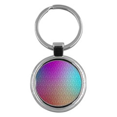 Blue And Pink Colors On A Pattern Key Chains (Round)