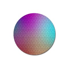 Blue And Pink Colors On A Pattern Magnet 3  (round)