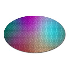 Blue And Pink Colors On A Pattern Oval Magnet