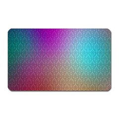 Blue And Pink Colors On A Pattern Magnet (rectangular)