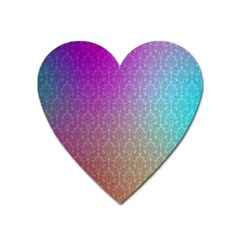 Blue And Pink Colors On A Pattern Heart Magnet
