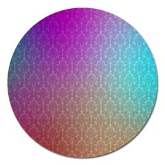 Blue And Pink Colors On A Pattern Magnet 5  (round)