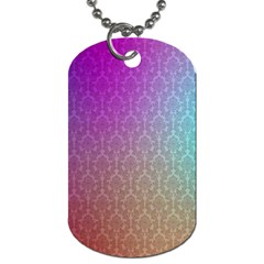 Blue And Pink Colors On A Pattern Dog Tag (two Sides)