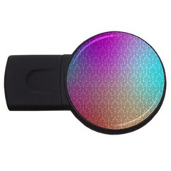 Blue And Pink Colors On A Pattern Usb Flash Drive Round (2 Gb)