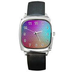 Blue And Pink Colors On A Pattern Square Metal Watch