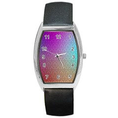 Blue And Pink Colors On A Pattern Barrel Style Metal Watch