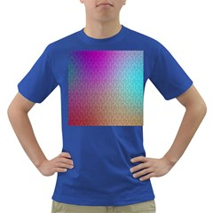 Blue And Pink Colors On A Pattern Dark T Shirt