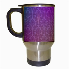 Blue And Pink Colors On A Pattern Travel Mugs (white)