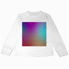 Blue And Pink Colors On A Pattern Kids Long Sleeve T Shirts