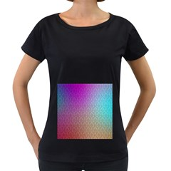 Blue And Pink Colors On A Pattern Women s Loose Fit T Shirt (black)