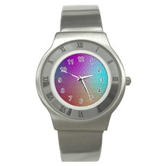 Blue And Pink Colors On A Pattern Stainless Steel Watch