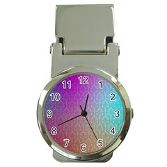 Blue And Pink Colors On A Pattern Money Clip Watches