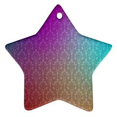 Blue And Pink Colors On A Pattern Star Ornament (two Sides)