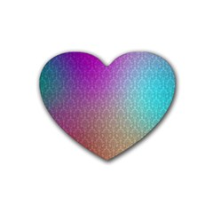 Blue And Pink Colors On A Pattern Heart Coaster (4 Pack)