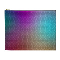 Blue And Pink Colors On A Pattern Cosmetic Bag (xl)
