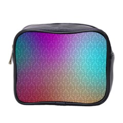 Blue And Pink Colors On A Pattern Mini Toiletries Bag 2 Side