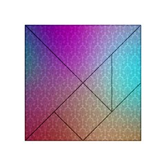 Blue And Pink Colors On A Pattern Acrylic Tangram Puzzle (4  X 4 )