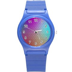 Blue And Pink Colors On A Pattern Round Plastic Sport Watch (s)