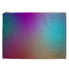 Blue And Pink Colors On A Pattern Cosmetic Bag (xxl)