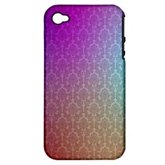 Blue And Pink Colors On A Pattern Apple Iphone 4/4s Hardshell Case (pc+silicone)