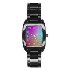 Blue And Pink Colors On A Pattern Stainless Steel Barrel Watch
