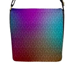Blue And Pink Colors On A Pattern Flap Messenger Bag (l)