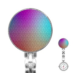 Blue And Pink Colors On A Pattern Stainless Steel Nurses Watch