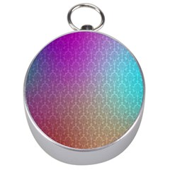 Blue And Pink Colors On A Pattern Silver Compasses
