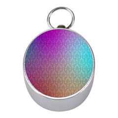 Blue And Pink Colors On A Pattern Mini Silver Compasses