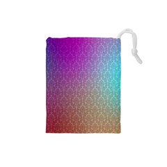 Blue And Pink Colors On A Pattern Drawstring Pouches (small)