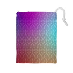 Blue And Pink Colors On A Pattern Drawstring Pouches (large)