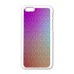 Blue And Pink Colors On A Pattern Apple Iphone 6/6s White Enamel Case