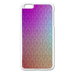 Blue And Pink Colors On A Pattern Apple Iphone 6 Plus/6s Plus Enamel White Case