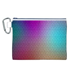 Blue And Pink Colors On A Pattern Canvas Cosmetic Bag (l)